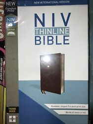Niv Thinline Bible Burgundy Bonded Leather Indexed Brand New In Shrink Wrap
