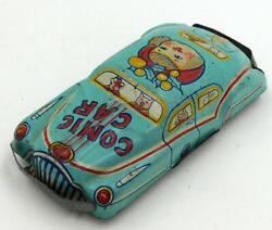 1950's Vintage Small Japanese Tin Penny Toy Comic Car- Girl W/ Holly In Hair
