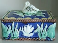 Pretty/old Majolica Etruscan Sardine Box With Swan And Pond Lilies Very Rare
