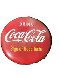 """Coca Cola 24"""" Vintage Button Metal Advertising Coke Sign, Red Org Paint"""