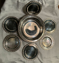 Wm Rogers Andson Spring Flower Silverplated Footed Dish And 6 Plates