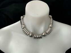 Vintage Large Sterling Silver Necklace Chocker From Mexico Beautiful 121g Marked