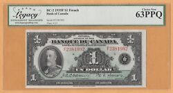 Canada Legacy-63 Ppq Unc 1 Dollar French P-39 / Bc-2 1935 Kgv Banknote