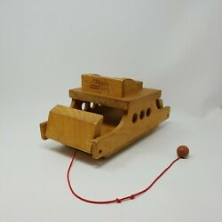 Vtg Wood Toy Ferry Boat Merry Ferry Pull Toy Montgomery Schoolhouse Inc Vermont