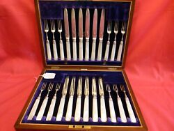 Lovely 24 Pce Set Of Cased Cutlery1904 Solid Silver Tinesbladesm.o.p Handles.