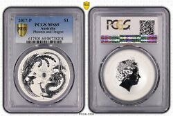 2017-p Australia 1 Silver Dollar Phoenix And Dragon Frosted Pcgs Graded Ms69