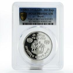 Nepal 100 Rupees International Year Of The Child Pr69 Pcgs Silver Coin 1981