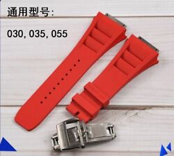 19 Mm Rubber Watch Band Red Strap For Richard Mille Rm035 030 055 With Buckle