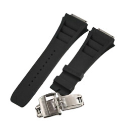 19 Mm Black Rubber Strap Watch Band For Rm035 055 030 Richard Mille + Buckle