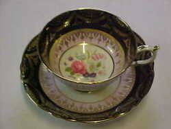 Paragon By Appointment Fine Bone China Black Pink And Gold Rose Cup And Saucer A139