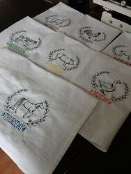 Days Of The Week 7 Tea Towels Machine Embroidered Farmhouse Towels 100 Cotton