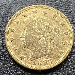 1883 Liberty Head Nickel 5c Better Grade Racketeer Gold Plated No Cents 30415