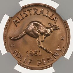 1961 Australia 1/2p Ngc Certified Pf 67 Rd Proof Struck Red Copper