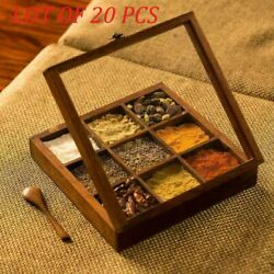 Wooden Table Top Masala Dabba Containers Jars Cum Kitchen Spice Box With Spoon