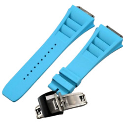 19 Mm Rubber Blue Watch Band Strap For Rm035 030 055 Richard Mille Black Buckle