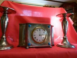 C1907 Lovely Arts And Craftsknoxliberty Tudric Pewter And Enamel Clock Garniture.