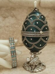 Mothers Day Russian Faberge Egg Music Jewelry Gift Handcarved Real Egg