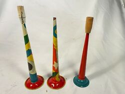 Colorful Lot Of 3 Tin Litho Horn Noise Maker Toy Vintage