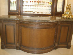 $20K AMAZING LARGE CUSTOM MADE CARVED WOOD COCKTAIL HOME BAR MARBLE TOP