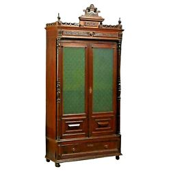 Antique Bookcase French Provincial Carved Walnut Dark Wood Tones Circa. 1870and039s