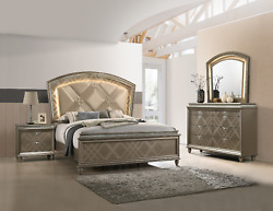 New Champagne Gold Led Queen King 4pc Bedroom Set Modern Glam Furniture B/d/m/n