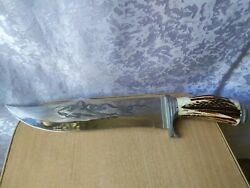 Vintage Knive Knife Hunting Collectible Hand Made Natural Handle Material Panthe