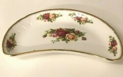 Rare Royal Albert Old Country Roses Crescent Salad Plate