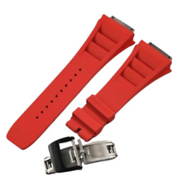 19 Mm Red Strap Black Buckle Watch Band For Richard Mille Rm035 055 030 Series
