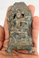 1850and039s Antique Old Rare Brass Hindu God Shiva With Wife Sitting On Nandi Statue