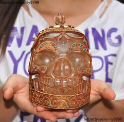 Tibet Tantric Crystal Inlay Turquoise Red Coral Skeleton Skull Death-head Statue