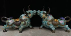 Old Chinese Bronze Cloisonne Enamel Animal Cattle Bull Wealth Wishful A Pair