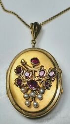 Antique 22k Yellow Gold Four-picture Locket With Rubies And Pearls And 24 Chain