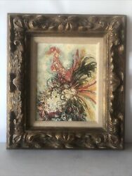 Abstract Rooster Mid Century Modern Original Drip Oil Painting Stiffel Company