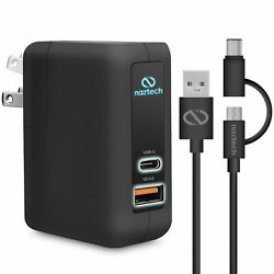 Naztech Quick Charge 3.0 Wall Charger With Hybird Usb-c Plus Micro Usb Cable