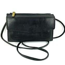 Fossil Crossbody Bag Wallet Vintage Black Leather Handbag Organizer $35.16