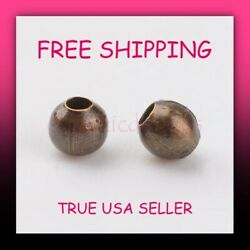 3mm 100pcs Antique Bronze Plated Iron Based Alloy Round Spacer Beads Free Ship