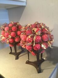 Christopher Radko Very Rare Pair Of Topiaries Retired In Pristine Condition