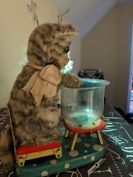 Vintage Tin Linemar Marx Battery Operated Hungry Cat 1960s Japan