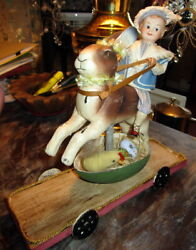 Antique Easter Rabbit/bunny/toy On Wheels/easter Egg/googly Doll/germany