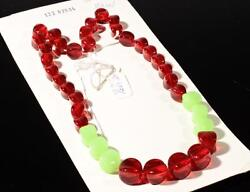 20 Necklace Element Chunky Red Uranium Pinched Oval Czech Vintage Glass Beads