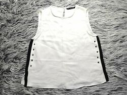 New Zara Womenand039s White Sleeveless Top With Black Sides And Buttons Size M