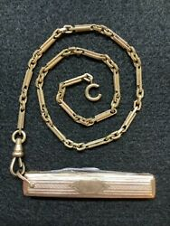 """Antique 1915 13"""" Simmons 10k Gold Watch Chain With 10k Gold Pen / Pocket Knife"""