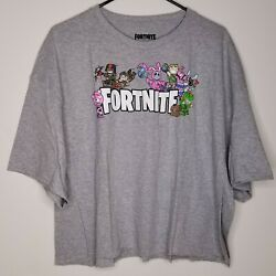 Nwt Fortnite Womenand039s Cropped T-shirt 2x Xxl Gray S/s Epic Games