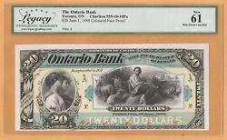 Canada Ontario Bank Face Proof 20 Dollar Legacy 61 Ch-555-18-10pa 1888 Banknote