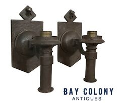 20th C Pair Antique Arts And Crafts Hammered Copper Electric Wall Lamps / Sconces