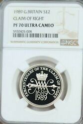 1989 Great Britain Silver 2 Pounds Claim Of Right Ngc Pf 70 Ultra Cameo Perfect