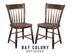 19th C Pair Of Antique Country Primitive Fancy Paint Windsor Thumb Back Chairs
