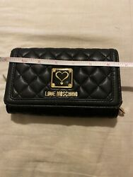 LOVE MOSCHINO Black Wallet With Documents Compartment amp; Coin Purse Inside $75.00