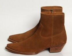 Saint Laurent And039lukasand039 Ysl Mens Ankle Cowboy Western Boots Sz 43/10 Brown Suede