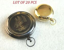 Collectible Set Of Two Push Button Compass Antique Nautical Brass Compass Gift